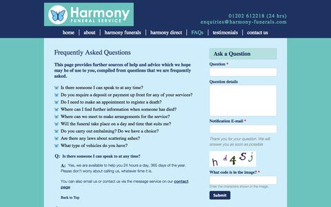 Screenshot of FAQ Page harmony-funerals.com - Frequently Asked Questions | Harmony - captured Oct. 2, 2014