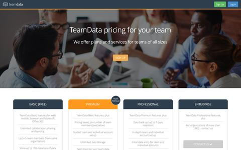 Screenshot of Pricing Page teamdata.com - Pricing | TeamData - captured June 30, 2016