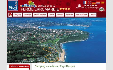 Screenshot of Home Page camping-erromardie.com - Camping Pays Basque, cote basque - CAMPING DE LA FERME ERROMARDIE - St Jean de Luz - captured Jan. 26, 2015