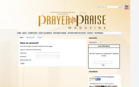 Screenshot of Signup Page prayerandpraisemagazine.com captured Sept. 30, 2014