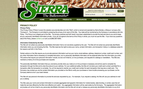 Screenshot of Privacy Page sierrabullets.com - Privacy Policy - Sierra Bullets - The Bulletsmiths - captured Sept. 24, 2014