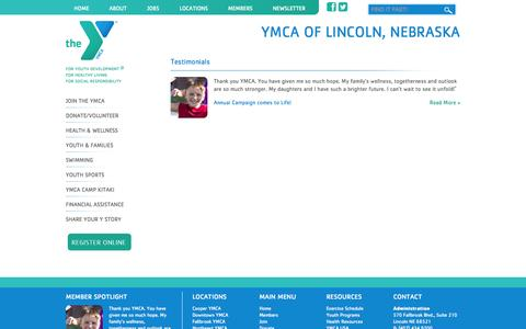 Screenshot of Testimonials Page ymcalincoln.org - Testimonials | YMCA of Lincoln, Nebraska - captured Oct. 3, 2014