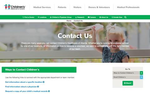 Screenshot of Contact Page choa.org - Contact Us | Children's Healthcare of Atlanta - captured Oct. 7, 2016