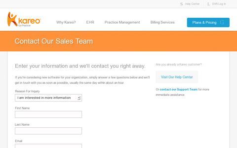 Screenshot of Contact Page kareo.com - Contact the Kareo sales team - captured July 20, 2014