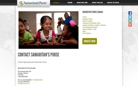 Screenshot of Contact Page samaritanspurse.ca - Contact Samaritan's Purse - captured Oct. 4, 2014