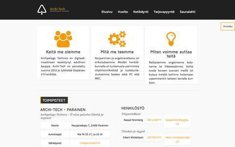 Screenshot of Home Page architech.fi - Archi-Tech - täyden palvelun ATK-liike yksityisille ja yrityksille Turun saaristossa - captured Oct. 4, 2014