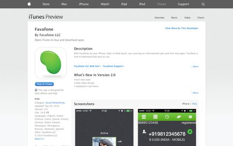 Screenshot of iOS App Page apple.com - Favafone on the App Store on iTunes - captured Oct. 25, 2014