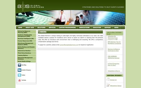 Screenshot of Jobs Page axisgp.com - Careers | Axis Global Partners - captured Oct. 4, 2014
