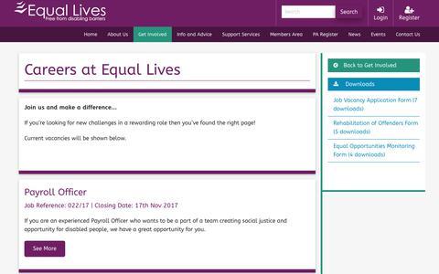 Screenshot of Jobs Page equallives.org.uk - Careers at Equal Lives | Equal Lives - captured Nov. 14, 2017
