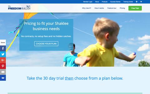 Screenshot of Pricing Page yourfreedomproject.com - Your Freedom Project   Excellent tools and training for Shaklee distributors - Pricing - captured Dec. 6, 2018