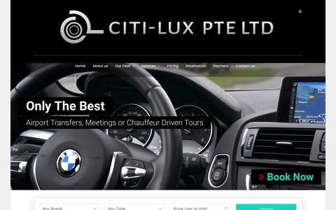 Screenshot of Home Page citilux.com.sg - Citi-Lux – Market Leading Chauffeur Services - captured July 31, 2017