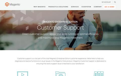 Screenshot of Support Page magento.com - Customer Support | Magento - captured Feb. 2, 2017
