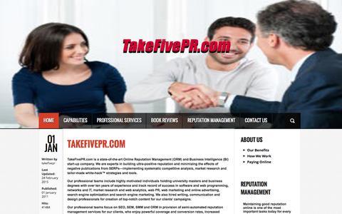 Screenshot of Home Page takefivepr.com - TakeFivePR.com - Online Reputation Management Services (ORM) - Business Intelligence (BI) - captured Feb. 22, 2016
