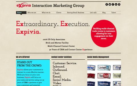 Screenshot of Home Page expivia.net - Customer Service | Contact Center | Call Center | BPO - captured Oct. 3, 2014