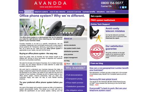 Screenshot of About Page avandda.co.uk - Office phone system solutions, Office phone systems, UK wide, Manchester, London, Warrington, Cheshire, Lancashire. - captured Oct. 4, 2014
