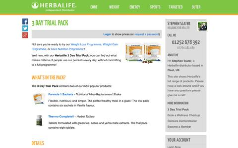 Screenshot of Trial Page headingforhealth.com - 3 Day Trial Pack - Stephen Slater's Herbalife Shop - captured Sept. 29, 2014