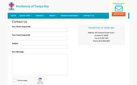 Screenshot of Contact Page presbyteryoftampabay.com - Contact Us   Presbytery of Tampa Bay - captured Dec. 8, 2018