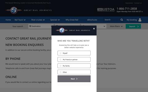 Screenshot of Contact Page greatrail.com - Great Train Tours | Luxury Guided Great Train Tours - captured Dec. 16, 2018