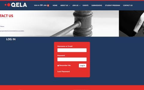 Screenshot of Login Page qela.com.au - Log In | Queensland Environmental Law Association - captured Nov. 13, 2016