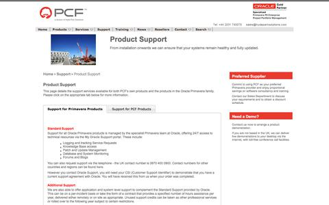 Screenshot of Support Page pcfltd.co.uk - Product Support - captured July 14, 2018