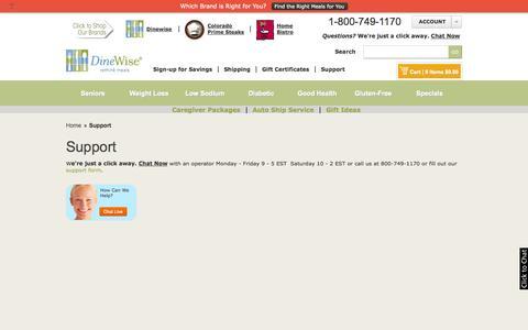 Screenshot of Support Page dinewise.com - Support | DineWise - captured Sept. 23, 2014