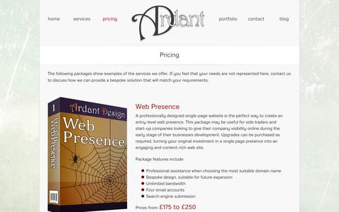 Screenshot of Pricing Page ardant.co.uk - Pricing - captured Oct. 4, 2014