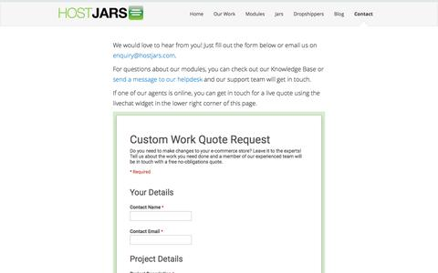 Screenshot of Contact Page hostjars.com - HostJars | OpenCart Modules and Custom Development - captured Dec. 12, 2015