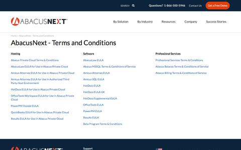 Screenshot of Terms Page abacusnext.com - AbacusNext - Terms and Conditions - captured Sept. 13, 2019