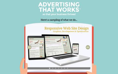 Screenshot of Home Page advertisingthatworks.com - Web and Print Design, Development and Copywriting, Contact Advertising That Works in Asheville, NC - captured Feb. 13, 2016