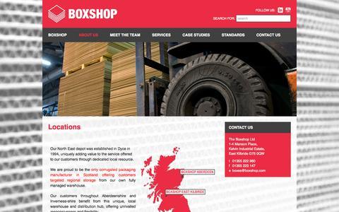 Screenshot of Locations Page boxshop.com - Locations - Boxshop - captured Oct. 7, 2014