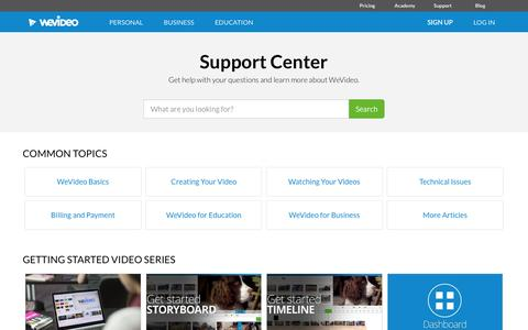 Screenshot of Support Page wevideo.com - Support | WeVideo - captured Nov. 11, 2015
