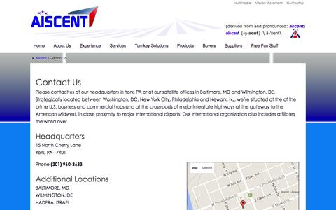 Screenshot of Contact Page aiscent.com - Contact Us - Aiscent - captured Feb. 4, 2016