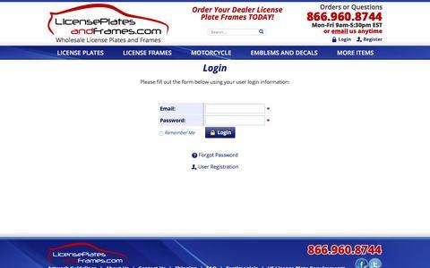 Screenshot of Login Page licenseplatesandframes.com - Login - captured July 14, 2016