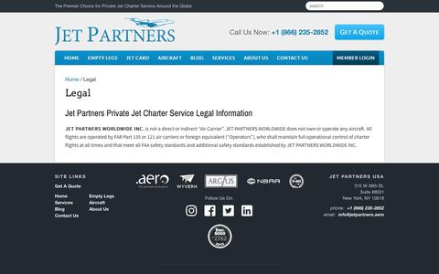 Screenshot of Terms Page jetpartners.aero - Jet Partners Private Jet Charter Service Legal Information - captured Dec. 10, 2018