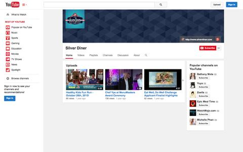 Screenshot of YouTube Page youtube.com - Silver Diner  - YouTube - captured Oct. 25, 2014