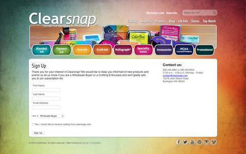 Screenshot of Signup Page clearsnap.com - Clearsnap® - captured Dec. 25, 2016