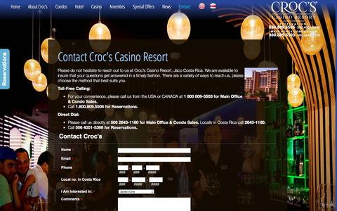 Screenshot of Contact Page crocscasinoresort.com - Contact Croc's Casino Resort, Jaco, Costa Rica | CrocsCasinoResort.com - captured Dec. 13, 2015