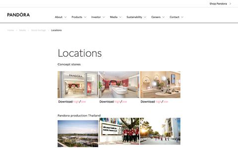 Screenshot of Locations Page pandoragroup.com captured Dec. 5, 2019