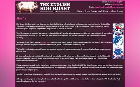 Screenshot of About Page theenglishhogroastcompany.co.uk - About Us | English Hog Roast Company - captured Sept. 30, 2014