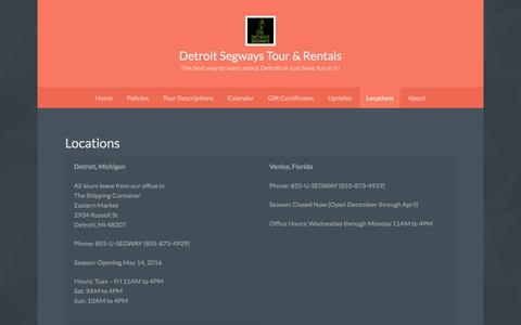 Screenshot of Locations Page detroitsegways.com - Locations - Detroit Segways Tour & Rentals - captured Dec. 26, 2016