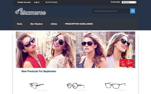 Screenshot of Home Page ekomerce.co.uk - Check out our full range of Sunglasses for Women/Men/Kids - Ekomerce.co.uk - captured Sept. 19, 2017