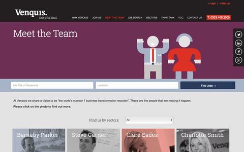 Screenshot of Team Page venquis.com - Meet the Team - Venquis - captured Oct. 9, 2014