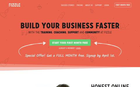 Screenshot of Home Page fizzle.co - Build Your Business Faster — Fizzle - captured March 17, 2018
