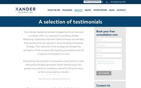 Testimonials | Portfolio | Xander Marketing