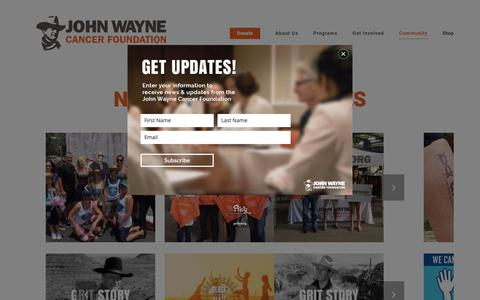 Screenshot of Press Page johnwayne.org - Community - John Wayne Cancer Foundation - captured Oct. 14, 2018