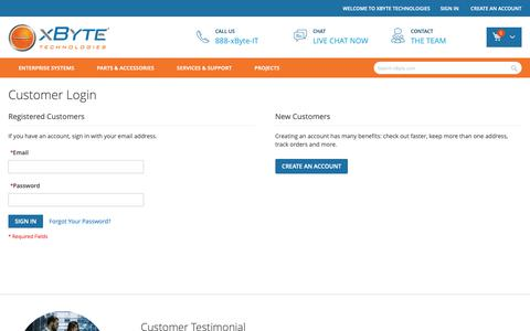Screenshot of Login Page xbyte.com - Customer Login - captured Feb. 25, 2019