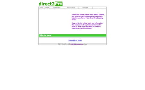 Screenshot of Home Page direct2pro.com - Direct2Pro - Meeting the Needs of Image-Makers - captured Sept. 30, 2014