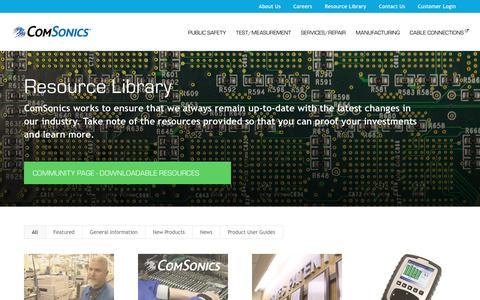 Screenshot of Press Page comsonics.com - Resource Library - ComSonics - captured July 8, 2017