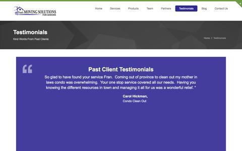 Screenshot of Testimonials Page movelady.com - Testimonials | Move Lady - captured Feb. 10, 2016