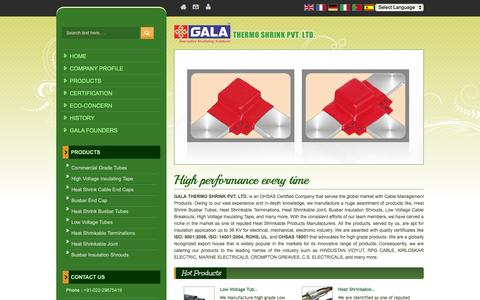 Screenshot of Home Page galathermo.in - Cable Management Products,Heat Shrink Cable End Caps,Busbar Insulation Shrouds Manufacturers - captured Oct. 20, 2016